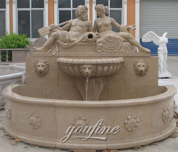 Outdoor lion water wall garden fountains with nude man and woman design for sale