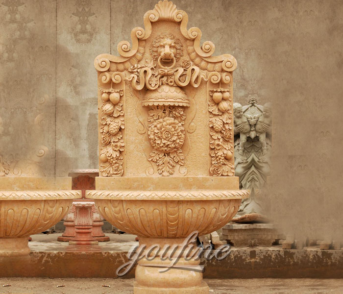 Outdoor lion design garden wall fountains with floral decor for sale