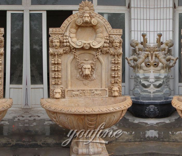 Outdoor lion design garden wall fountains with basin for sale