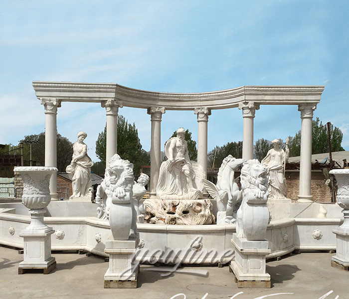Large outdoor white marble statuary water fountains with figure and animals for sale