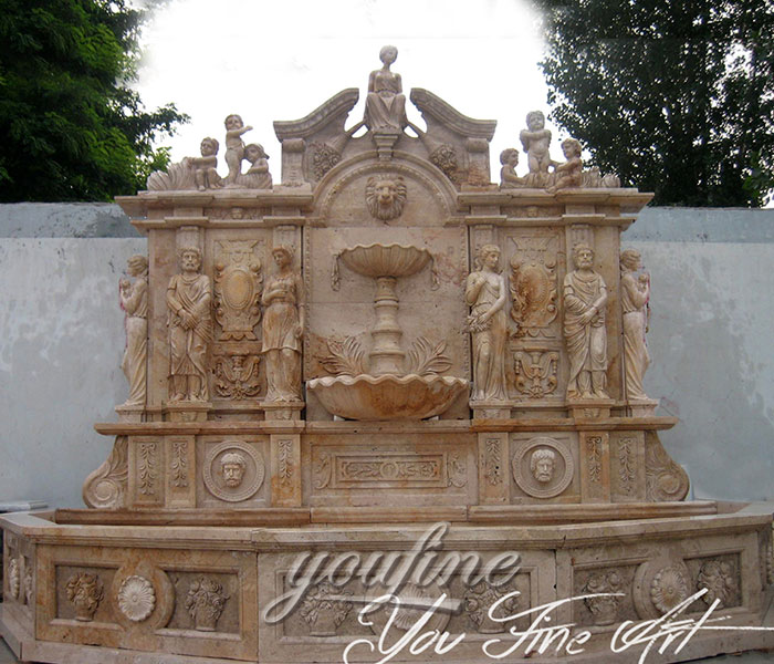 Antique luxury marble garden lion head wall fountains with figure statue decor for sale