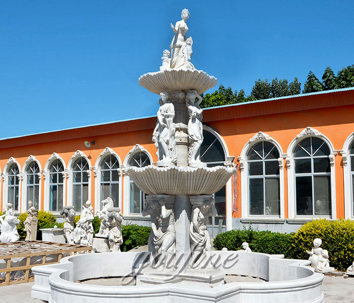 Factory price Large outdoor white marble statuary water fountains with figures for sale