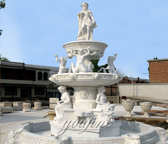 Factory price natural stone statuary tiered water fountains with figures for sale