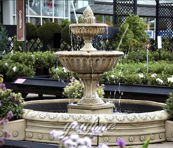 Antique marble garden tiered water fountains with floral decor for sale