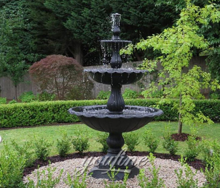 Black marble garden tiered water fountains for sale
