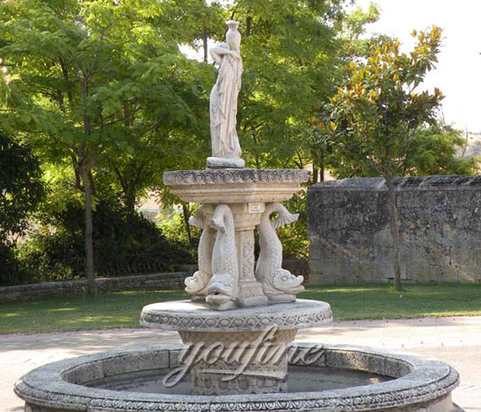 Outdoor carved marble tiered water fish fountains with woman statue for sale