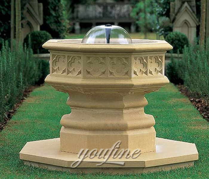 Outdoor carved beige marble tiered water garden fountains for sale