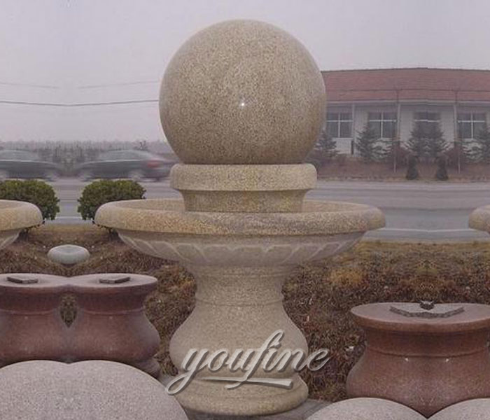 Outdoor casting granite stone rotating ball water garden fountains for sale