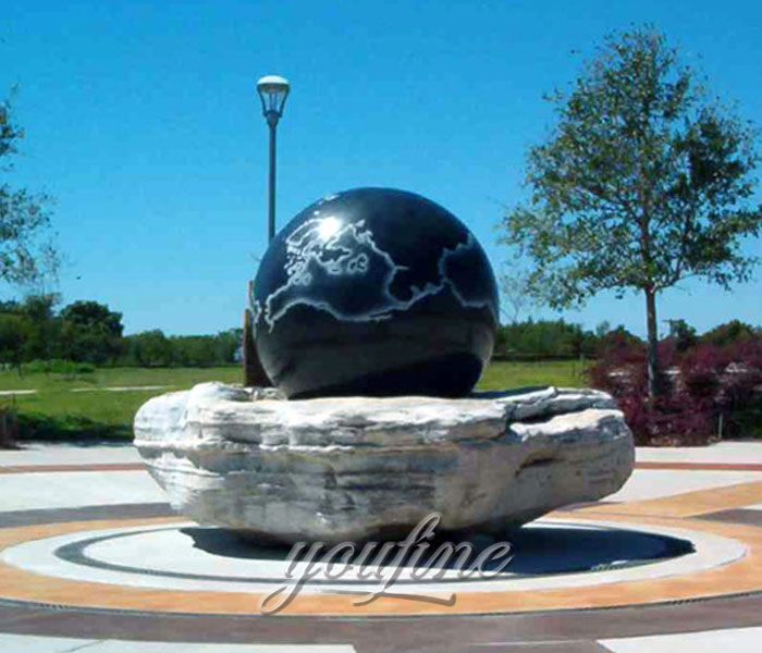Outdoor water garden casting granite stone ball with world map fountains for sale