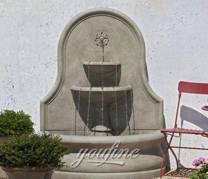 Outdoor water garden tiered wall fountains with floral decor for sale