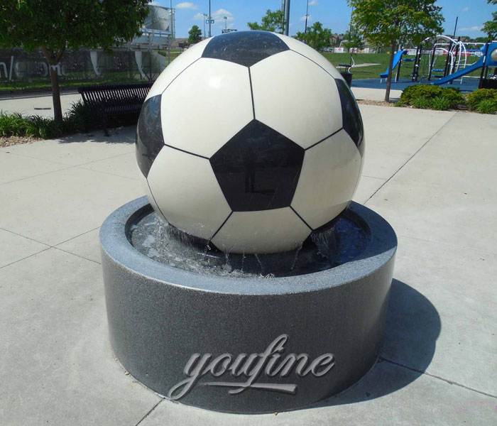 Outdoor casting black granite stone rotating football water garden fountains for sale