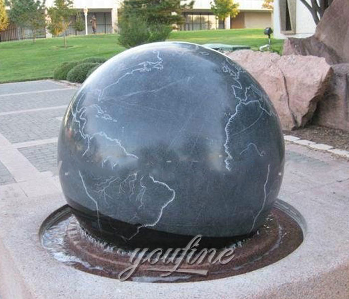 Stone ball with wold map fountains outdoor for sale