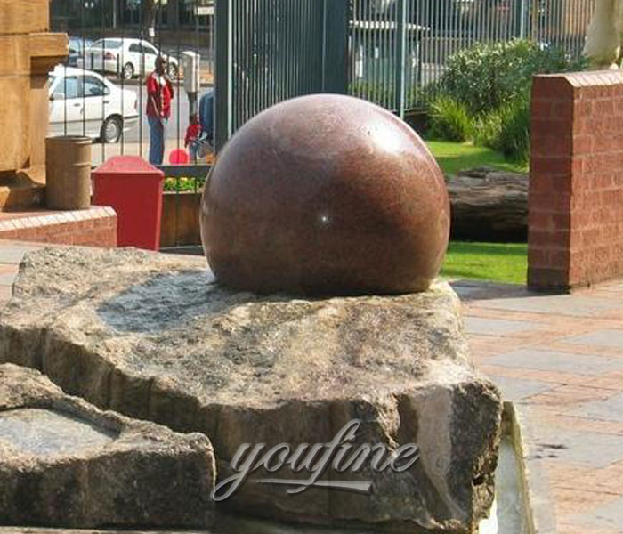 Natural granite stone rotating ball water fountains for garden