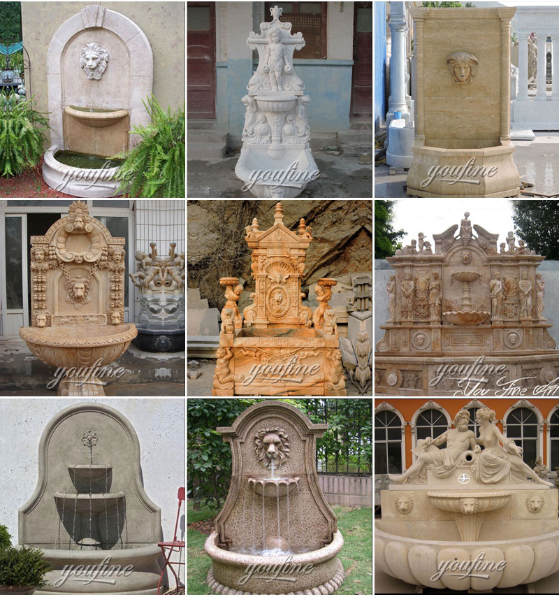Outdoor tiered antique marble water wall fountain with angel and goat statue for yard