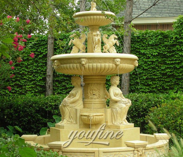 Beige marble waterfall stone 3 tier horse fountain outdoor with sitting woman statue decoration for sale