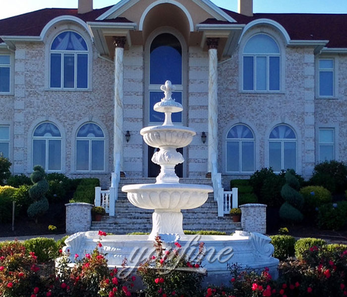 Outdoor three tiers water white marble stone garden fountain for sale
