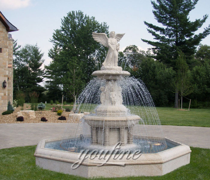 Tiered marble stone water fountain outdoor with woman and angel statue for sale