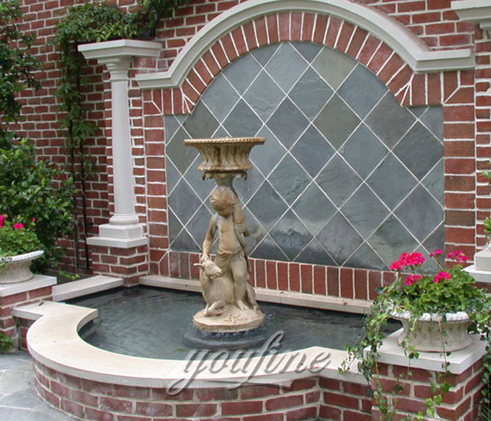Outdoor tiered antique marble water wall fountain with angel and goat statue for yard on sale