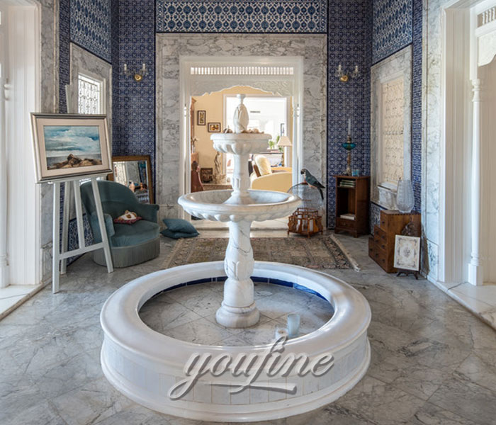 Small tiered marble stone water home fountain indoor for sale