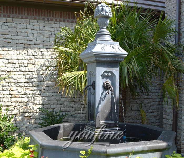 Outdoor antique marble column water fountain for yard on sale
