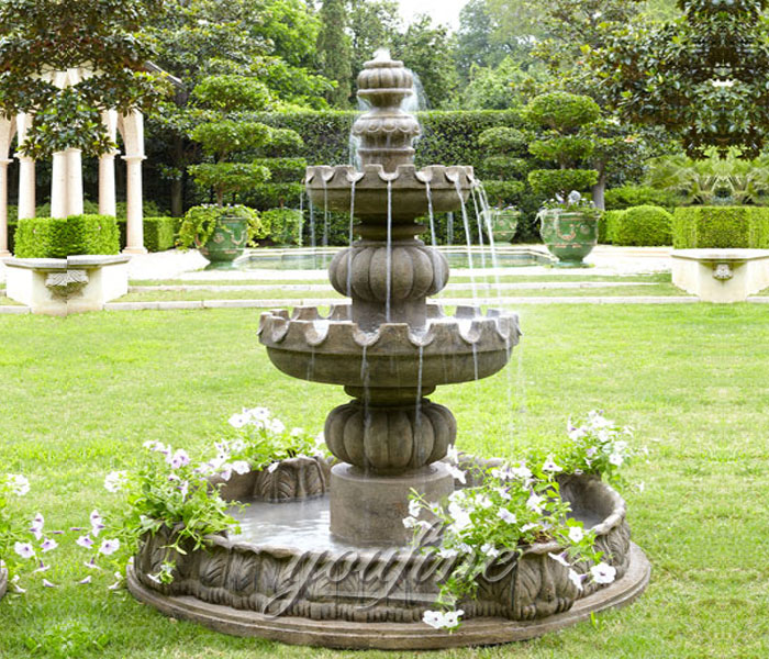 Small outdoor antique stone marble tiered water fountain for bank decor