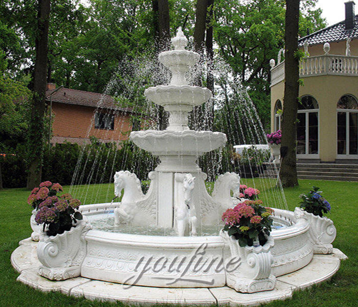 Outdoor classical 3 tiers pure white marble water fountain with horse for garden on sale