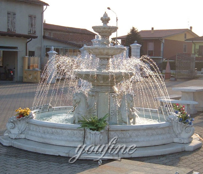 Outdoor classical 3 tiers marble stone waterfall fountain with horse for bank on sale
