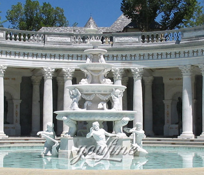 Outdoor grand Tiered luxury marble stone water fountain with man and angel statue for sale