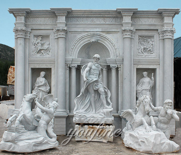 Large outdoor water marble fountain with Neptunian statue