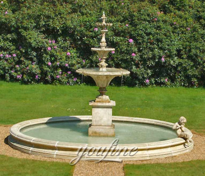 Hot selling classical tiered water fountain carved from beige marble for hotel on sale
