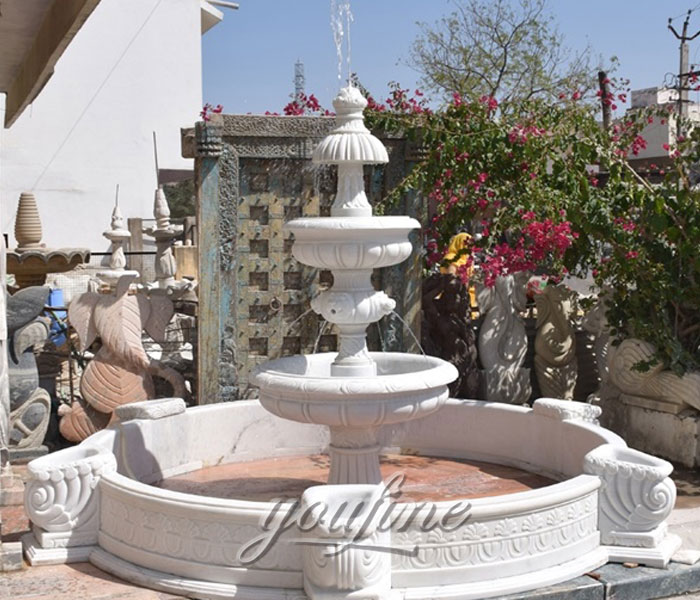 Tiered pure marble water fountain with pool outdoor for garden on sale
