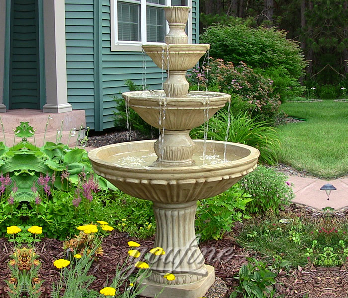 Outdoor small antique stone three tiers water fountains design for home decor