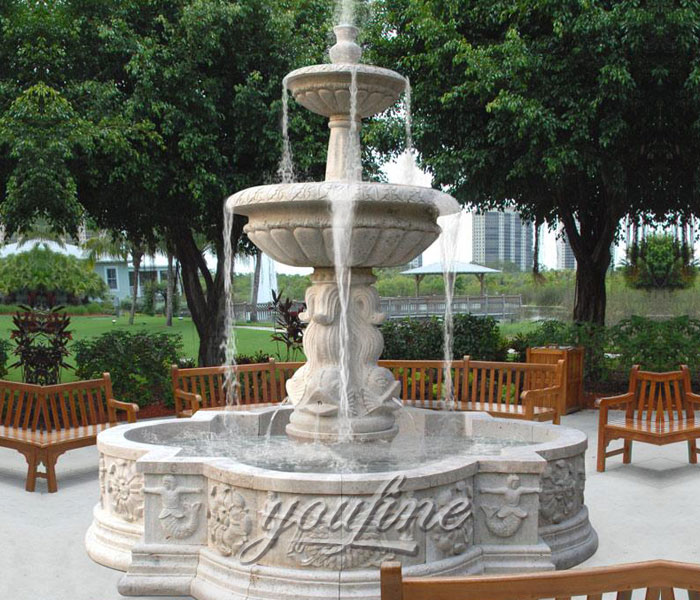 Outdoor antique stone tiered waterfall fountains design for sale