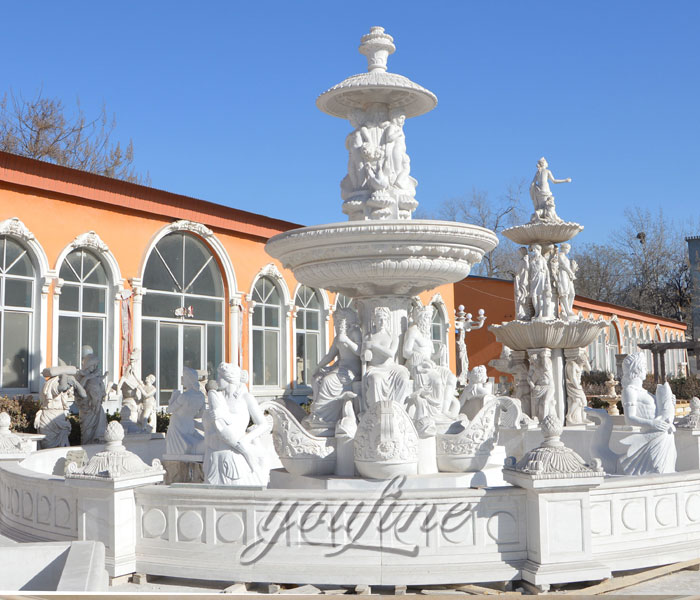 Outdoor white marble tiered waterfall woman statuary fountains for sale