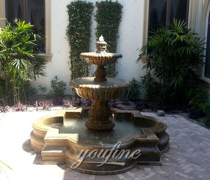 Antique marble stone tiered water fountain indoor for sale