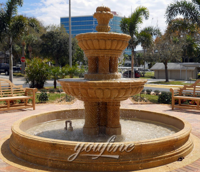 Garden 3 tier outdoor beige marble water stone fountain for sale